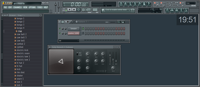 FL Studio background with a  functional clock
