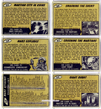 Back of Mars Attacks! trading cards.